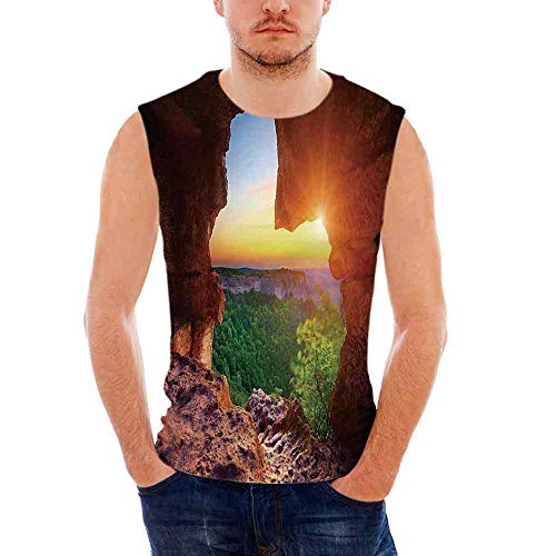 Leggings Canyon Denim (Mens Natural Cave Decorations Tank Top Sleeveless Tees All Over Print Casual T-)