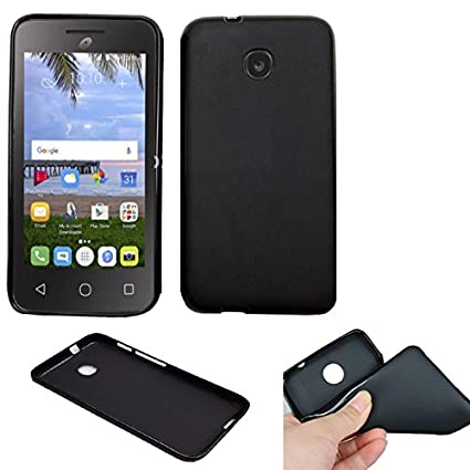 on sale 520e9 e3939 Phone Case For TracFone A466BG Alcatel PIXI UNITE 4G (Straight Talk)  Slim-Flex Gel Cover ( 2tone Frosted-Black Gel)