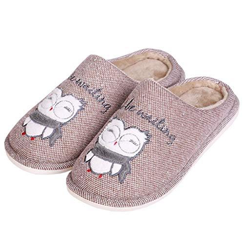 FAY WATERS Women's House Slippers Indoor Outdoor Winter Warm Plush Couple Cartoon Owl Comfort Memory Foam Home Slippers