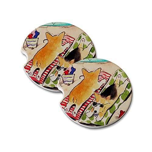 Natural Sandstone Car Drink Coasters (set of 2) - Beach Corgis Welsh Corgi Dog Art by Denise Every