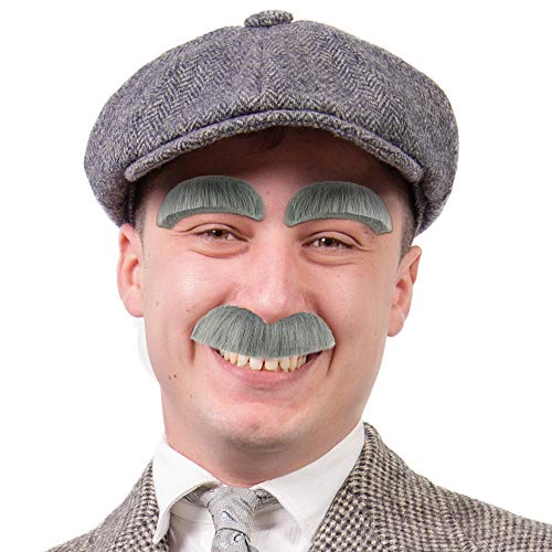 Old Guy Halloween Costumes (Skeleteen Eyebrow and Mustache Set - Old Man Bushy Stick On Fake Grey Eyebrows and Moustache Kit for Men, Women and)
