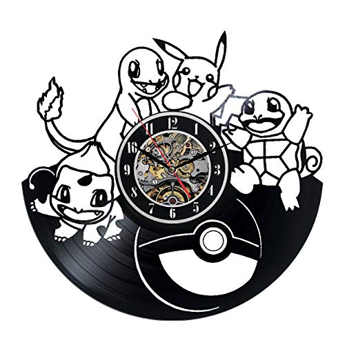 (Pokémon GO Wall Clock 12 in(30cm) Black Decor Modern Decorative Vinyl Record Wall Clock This Clock is A Unique Gift to Your Friends and Family for Any Occasion …)