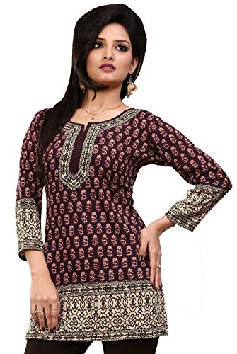 Indian Tunic Top Womens Kurti Printed Blouse Kurta India Clothes – S…Bust 34 inches, Brown
