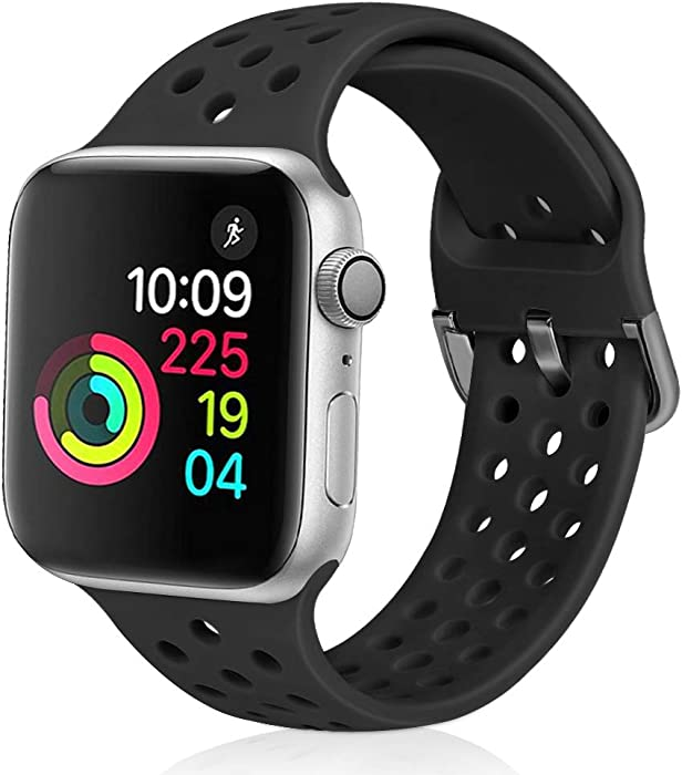 XFYELE Compatible with Apple Watch Band 42mm 44mm, Soft Breathable Sport Silicone Replacement Strap Compatible for iWatch Series 6, 5, 4, 3, 2, 1 for Women and Men (Black, 42mm/44mm)