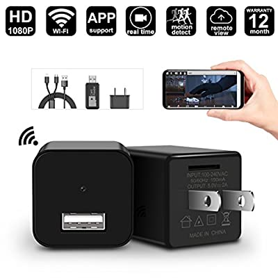 WIFI Hidden Spy Camera - 1080P USB Wall Charger Spy Hidden Camera/Nanny Spy Camera Adapter - Wi-Fi Remote View - Motion Detection - Charging Phones - Support iOS & Android.PC by GeekSpark