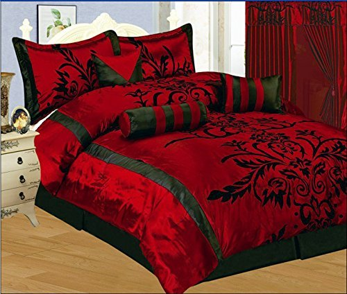 7 Piece Faux Silk Satin Comforter Set Bedding-in-a-bag, Burgundy Red Black- QUEEN