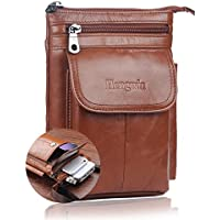 Hwin Small Crossbody Leather Men Phone Purse Plus Holster Case (Brown)
