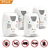 MangGou Pest Control,Ultrasonic Pest Repellent,Electronic Plug in Pest Reject,Pack of 4 - Repels Mice, Rats, Roaches, flies,Mosquito, Spiders, Ants & Other Insects,Non-toxic Environment-friendly