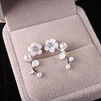 ERAWAN Women Fashion Gold Silver Flower Earrings Crystal Rhinestone Pearl Ear Stud Gift EW sakcharn (Silver)