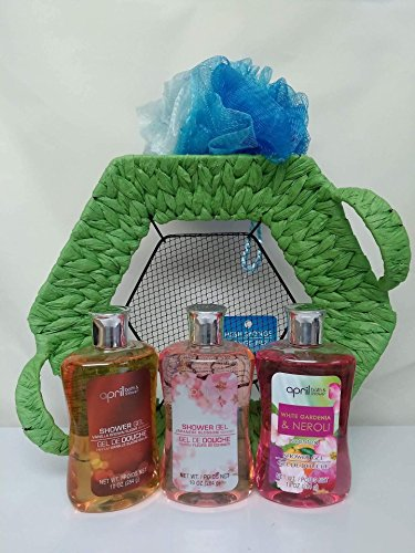 Price comparison product image Christmas Gifts For Her : 3 Shower Gels & Loofah Mesh Sponge