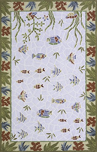 Momeni Rugs COASTCC-05LBL4060 Coastal Collection, 100% Cotton Hand Hooked Transitional Area Rug, 4' x 6', Light - Momeni Coastal Fish