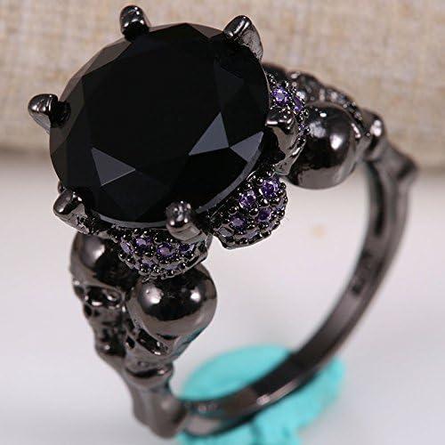 Chic White Red Sapphire Skull Ring Set Women Wedding Engagement Jewelry Gift