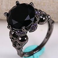 New Black Sapphire Gemstone Skulls Women Men 925 Silver Wedding Ring Size 6-10 (8)