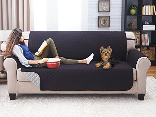 "Deluxe Reversible Sofa Furniture Protector, Black / Grey - 75"" x 110"""
