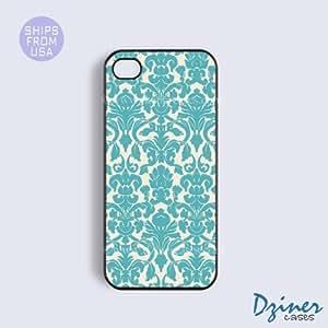 LJF phone case iphone 4/4s Tough Case - Vintage Blue Damask Pattern iPhone Cover