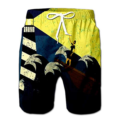 Guidance in Stormy Seas Lighthouse Providing to Boat Sea The WOM Men Swimwear Volley Pants Pocket XXL ()