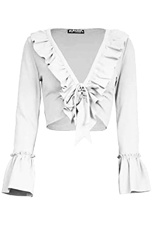 4c4c08c8026a8 Fashion Star Womens Peplum Ruffle Frill Bell Sleeve Tie Knot Lace up Front  Ladies Cropped Top  Amazon.co.uk  Clothing