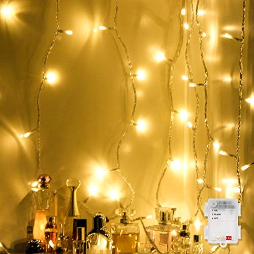 myCozyLite LED String Lights, Battery Powered, 16.4ft with 50 Warm White Decorative Lights, Switch and Flash, Use for Indoor and Outdoor Decoration ()