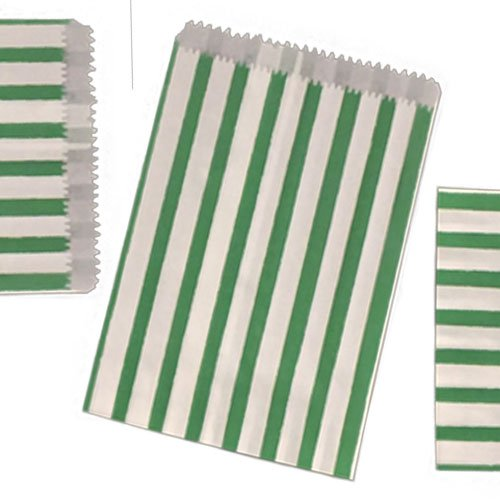 200 SMALL Green & WHITE STRIPE PAPER BAGS SIZE 5 X 7 CANDY SWEET GIFT JeeJaan®