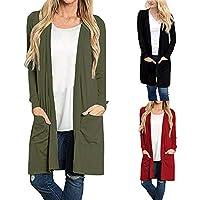 Londony New Seasons Coat Sale,Women's Solid Long Sleeve Open Front Cardigans Loose Sweatshirt Jacket Pockets