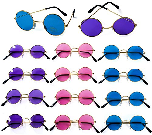John Lennon Sunglasses - 12 Pack Retro Sunglasses - 60's Hippie Costume Accessories - Hippie Glasses- By Tigerdoe -