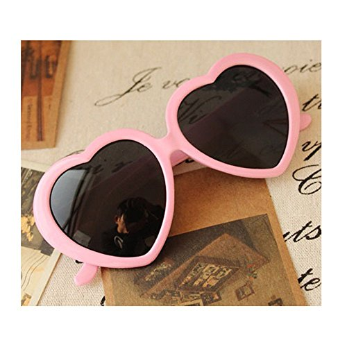 VANKER 1X Pink Fashion Cute Women Lady Girl Oversized Heart-Shaped Plastic Frame Retro Sunglasses Eyeglasses - Oversized Sunglasses Heart Shaped