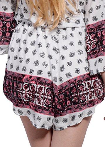 Kimono Femminile Gal V Stampato Wink Floreale A Scollo Floreale Pagliaccetto Rosa Playsuit G Profondo EaExYqdwr