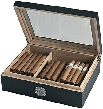 Egoist Humidor - Humidificador con hygrómetro para puros, habanos o tabacos - 25 cigarros I Accesorios de puro y humidores - Negro: Amazon.es: Salud y cuidado personal