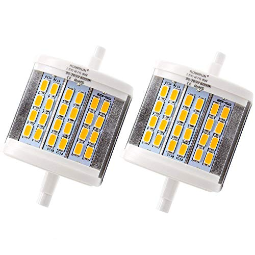 Rowrun R7S 78mm LED Warm White 3000K 8W Non Dimmable 700LM 24PCS 5630SMD AC85-265V J78 Double Ended Light 75W Equivalent J Type Halogen Bulb Replacement Pack of 2