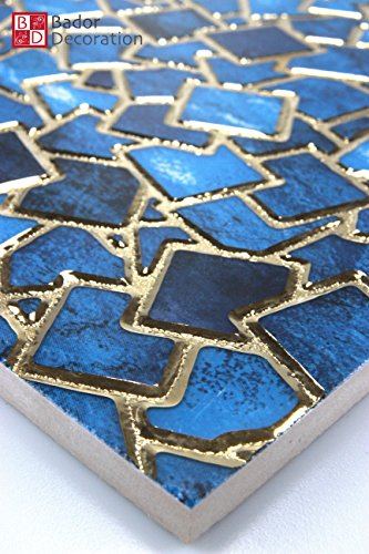 1 Matte Wandfliesen Fliesen Keramik Glänzend Glasiert Blau Türkis Gold  30x30 8mm: Amazon.de: Baumarkt