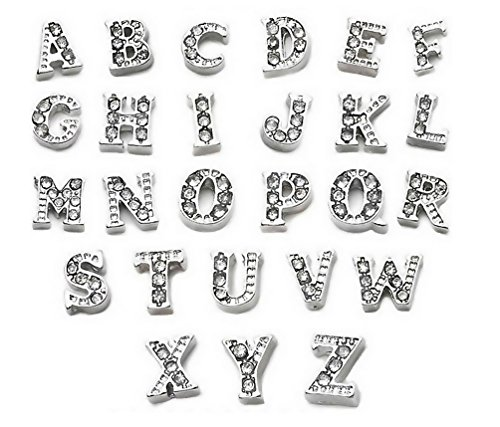 - Paialco Jewelry Alphabet Diamante Initial Floating Charms Set, Silver