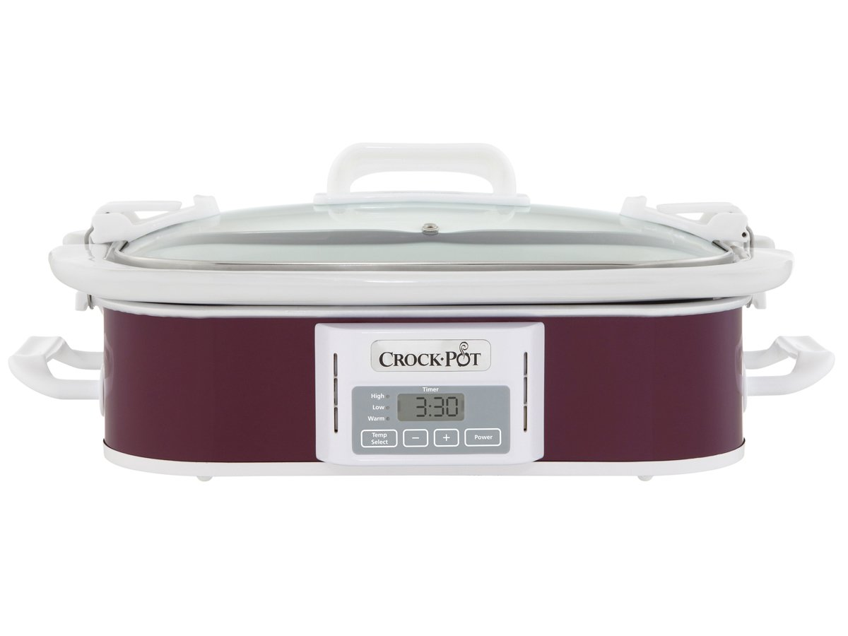 Crock-Pot 3.5-Quart Programmable Digital Casserole Crock Slow Cooker, Plum Crockpot SCCPCCP350-CR