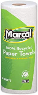 """product image for 2-Ply 100% Recycled Paper Towels, 11"""" x 9"""" - 60 Sheets/Roll - White - Absorbent, 1 Roll"""