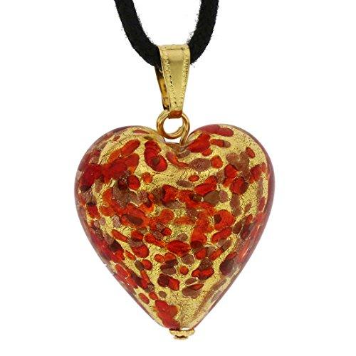 Pendant Confetti Glass (GlassOfVenice Murano Glass Heart Pendant - Red Confetti)
