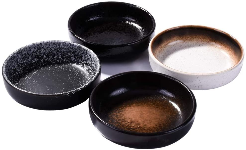 4 Pieces Japanese Retro Soy Sauce Dishes, Dipping Bowls Side Dish set for Salad Dressing, Jam