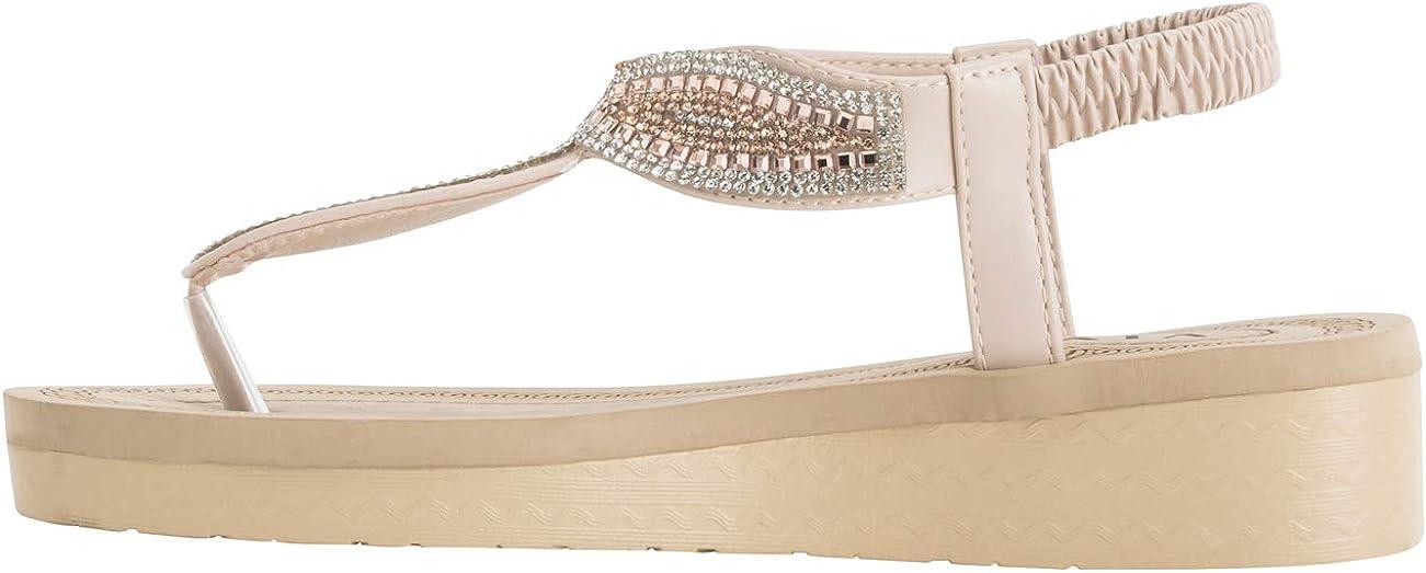 VIVASHOES Womens Diamante Tear Drop Fashion Platform Sandals