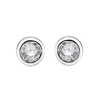 a3e48709e Image Unavailable. Image not available for. Color: DIAMOND DELIGHT Stud  Earrings with Bezel Set Diamond in 14K White Gold (1/4