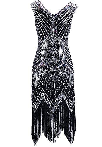 Clothin - Vestido de lentejuelas para mujer, años 20, diseño tipo Gatsby, cóctel, vestido de fiesta con flecos Q2-black