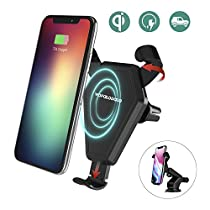 Wireless Car Charger,Wofalodata Wireless Charging Air Vent Phone Holder Cradle Adjustable Holder for Samsung Galaxy S8/S8+/S7/S6 Edge+/Note 5, Qi Wireless Standard Charge for iPhone 8/8Plus/X