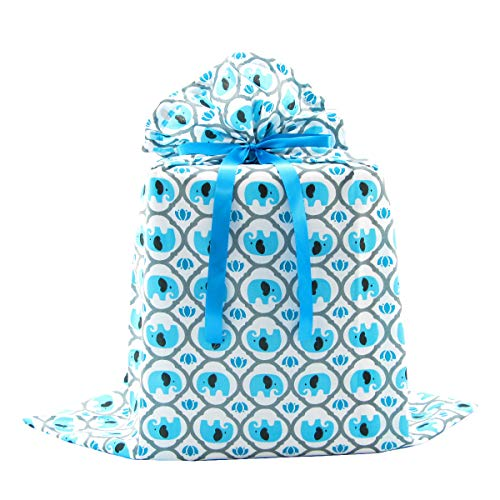 Large Baby Gift Bag (Elephants Reusable Fabric Gift Bag for Baby Shower, Child's Birthday, or Any Occasion (Jumbo 27 Inches Wide by 33 Inches High, Turquoise)