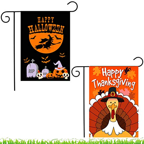 Shmbada Happy Halloween Thanksgiving Garden Flag, Double Sided
