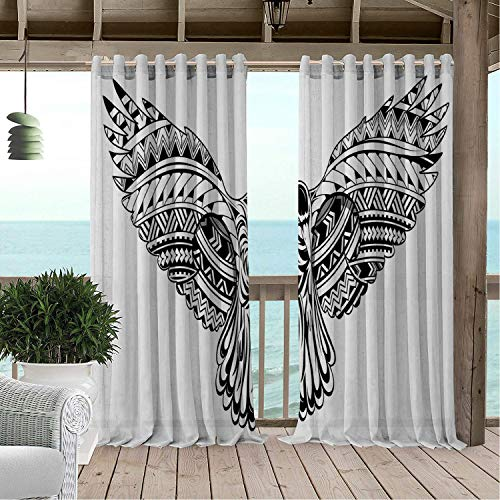 (Linhomedecor Patio Waterproof Curtain Crow Crow Bird Tattoo Artwork Maori Style Ornaments Tribal and Abstract Design Black and White pergola Grommet Printed Curtains 120 by 72 inch)