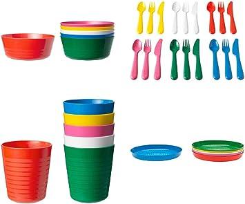 Juego de 36 cubiertos de plástico para niños de IKEA, sin BPA, juego de tazón, plato, vaso, multicolor