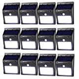 LeadTop Solar Motion Sensor Light 20 LED Solar Powered Wireless Weatherproof Security Wall Lights for Outdoor Yard Garden Driveway Pathway Pool (12-Pack)