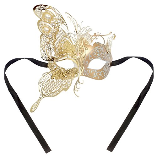 [ILOVEMASKS Side Butterfly Masquerade Costume Party Luxury Mask - Gold White] (White And Gold Masquerade Mask)