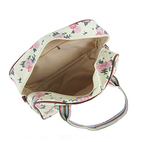 Floral Blossom Day Travel UK Luggage Womens Print Hand Beige Maternity Ladies Overnight Bag New 1wpCqnE
