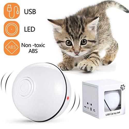 Katzenspielzeug Interaktiv Automatisch Sich Drehender Ball, USB Wiederaufladbares LED Licht Haustier Unterhaltungskugeln…