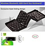 """TOP Quality Wireless Bluetooth Folding ABS HARD KEY Keyboard for Samsung Galaxy Note 2, Note 3, Note 4, Note 5, Galaxy S3, S4, S5, S6, S7, S8, Mini Bluetooth Keyboard for Galaxy Tab 10.1, Note 10.1, Tab 3 7/8/10"""", Tab 4 Pro Tablet, Wireless Keyboard for iPad 2/3/4/5/6/7/8, iPad Mini, iPhone 4/5/6/7/8 and All Smart Phones and Tablets with iOS, Android, Windows and Other OS. 6~12 Days Fast Delivery."""