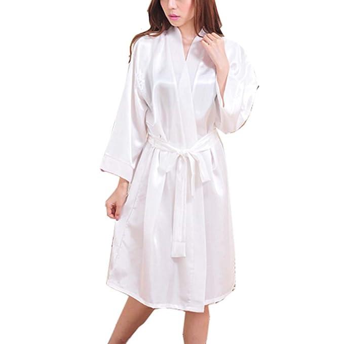 Manga Larga Pijamas De Gasa Traje De Baño Suelto Albornoz Trajes De Baño -White