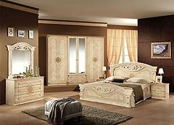 Schlafzimmer Roma Creme Beige 6 Türig Schrank Bett Design Luxus